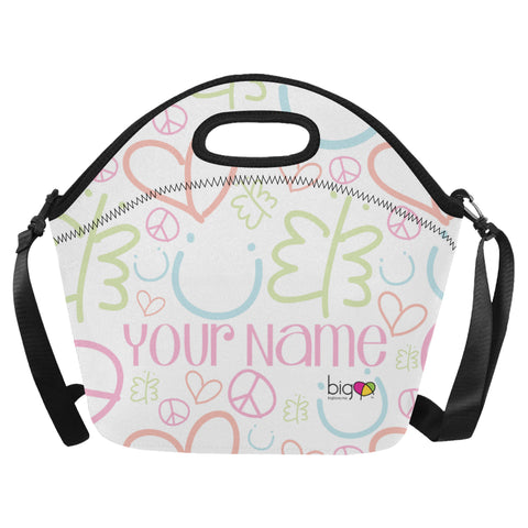 Personalized BIG Neoprane Lunch Bag Pastel Logo Pattern - Biglove