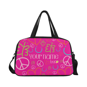 Personalized Fitness Handbag Pink Logo Pattern
