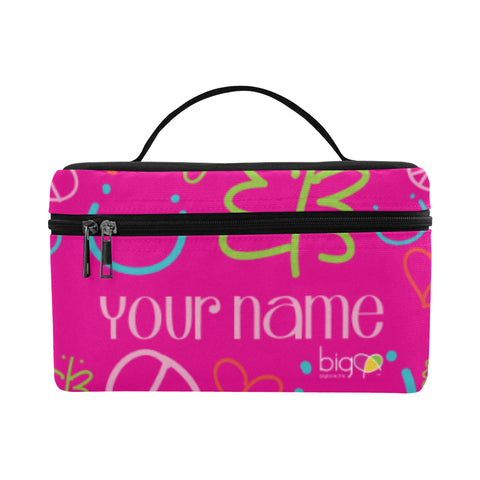 Personalized Rectangular Lunch Bag Pink Logo Pattern - Biglove