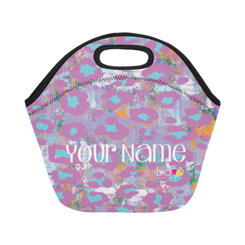 Personalized SMALL Neoprane Lunch Bag Light Purple Animal Print - Biglove