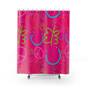 Biglove Pattern Pink Shower Curtains - Biglove