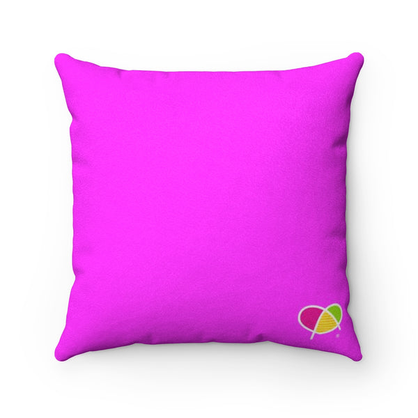 Happy Pink Faux Suede Square Pillow - Biglove