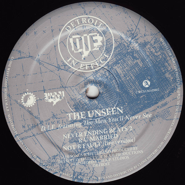 "D.I.E. feat. The Men You'll Never See - The Unseen - 12"" - Clone West Coast Series - CWCSxMAP002"