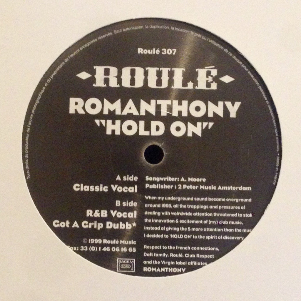 "Romanthony - Hold On - 12"" - Roulé 307"