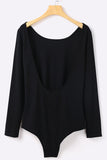 Black Long Sleeve U-Shaped Backless Bodysuits