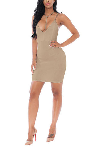 Apricot Deep V-Neck Adjustable Strap Bodycon Dress
