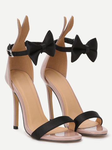 Bow Tie Ankle Strap Heeled Sandals - Crystalline