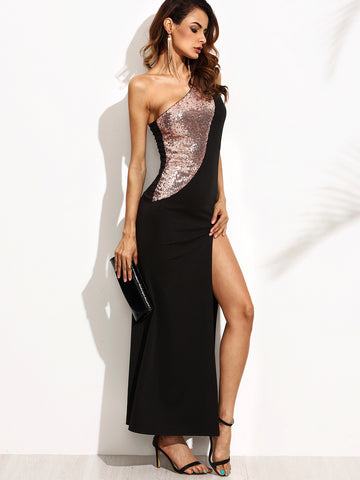 Black Gold Sequins Sleeveless Dress (FREE SHIPPING & FREE RETURNS) - Crystalline