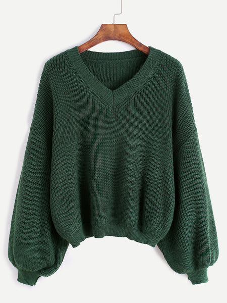 Army Green V Neck Seam Casual Sweater