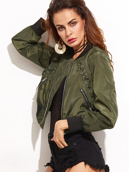 Army Green Eyelet Lace Up Contrast Trim Jacket - Crystalline