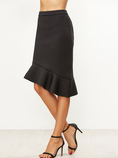 Black Ruffle Asymmetric Skirt