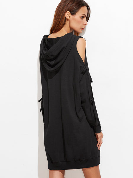 Black Bow Hoodie Dress