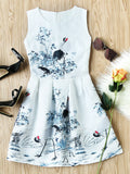Beige Ink Painting Print Sleeveless Embossed Flare Dress