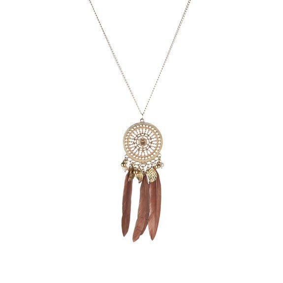 Bohemian Jewelry Embedded with Crystal Disc Pendant with Multi Charms and Brown Peacock Feathers Necklace for Women - Crystalline