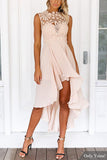 Apricot Lace Embroidery Sleeveless High Waist Irregular Hem Dress