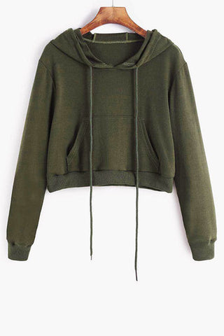 Army Green Basic Front Pocket Long Sleeve Hoodie Top