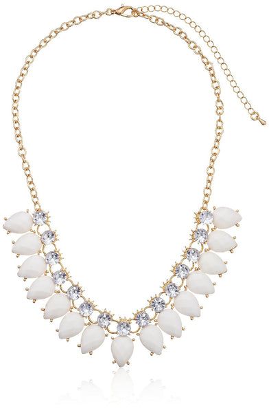 Faceted Teardrop and Crystal Statement Necklace - Crystalline