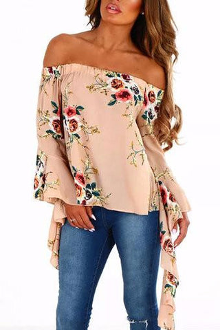 Apricot Off Shoulder Floral Print Bell Long Sleeve Top