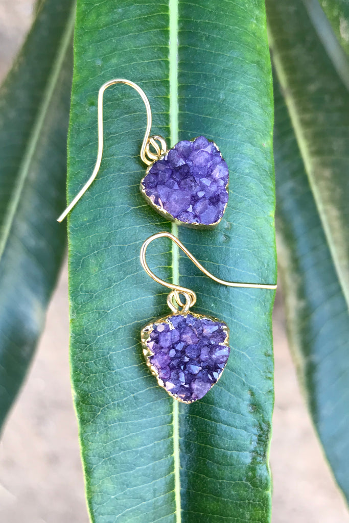 Purple Druzy Earrings #H1023