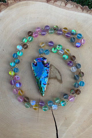 Rainbow Arrowhead Necklace #I1183