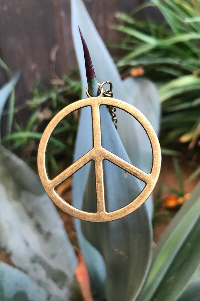 Bronze Peace Sign Necklace #I1128