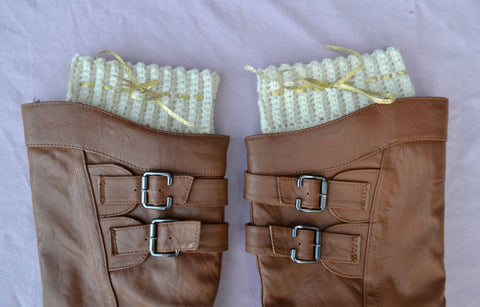Cream & Gold Boot Cuffs