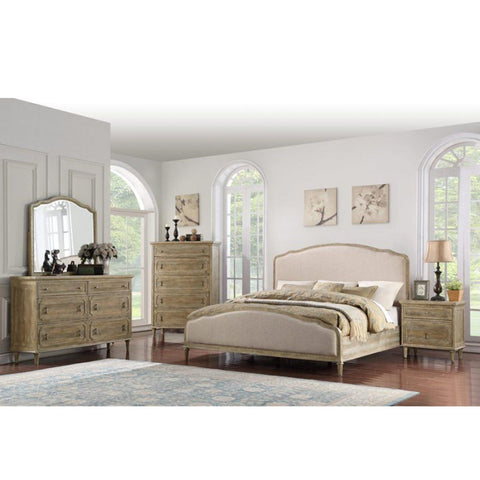 Mixed Solid Wood King Bed with Pure Stained White Finish