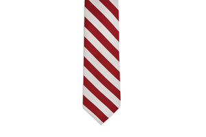 All American Stripe Necktie - Crimson and White