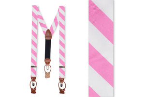 True Pink and White Stripe Braces