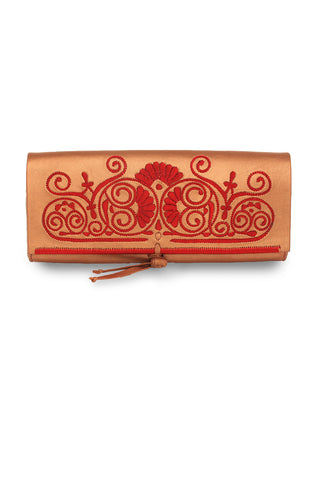 Bronze & Red Leather Clutch Bag