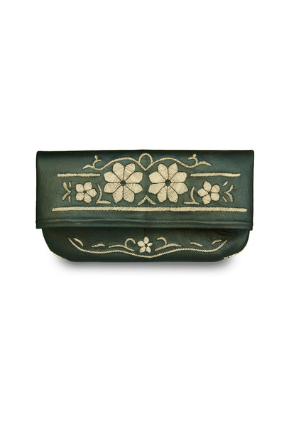 Black & Cream Leather Floral Embroidered Clutch Bag