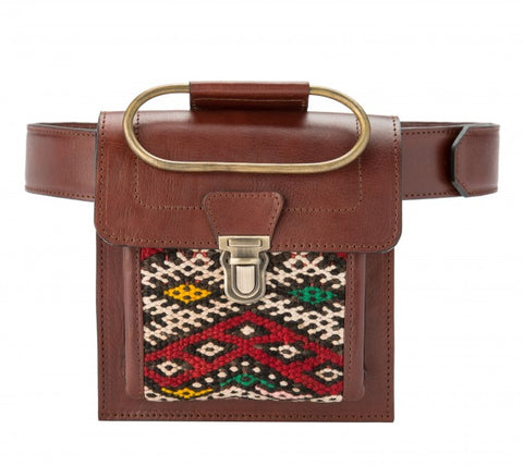 Aziza Belt & Clutch Bag - Chocolate brown