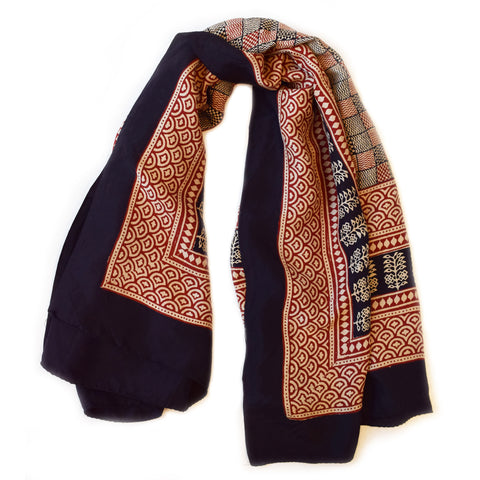 Bagh Checker Print Silk Scarf