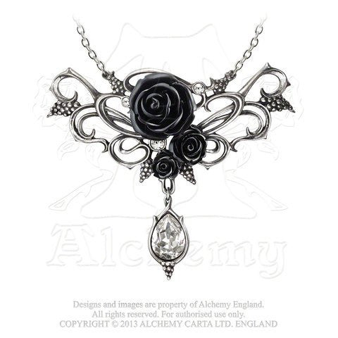 Bacchanal Black Rose Necklace by Alchemy Gothic