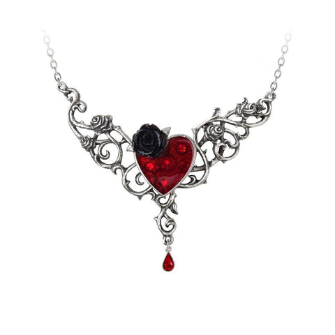 Blood Rose Heart Necklace by Alchemy Gothic
