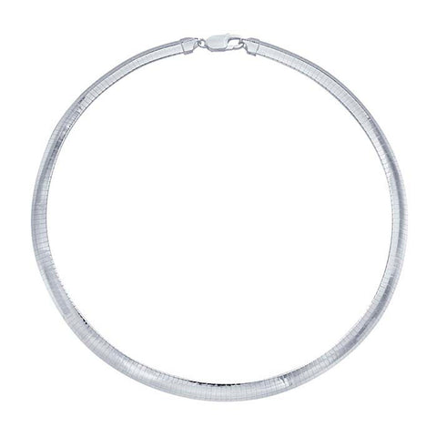 8mm Wide Sterling Silver Omega Necklace Chain