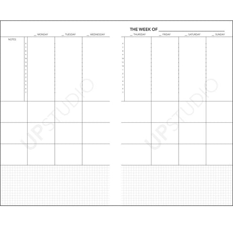 2019 UPstudio Weekly Planner Free Weekly Layout Download
