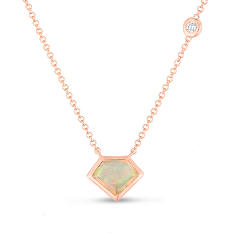 14K Gold Super Mini Necklace with Flying Diamond in Opal