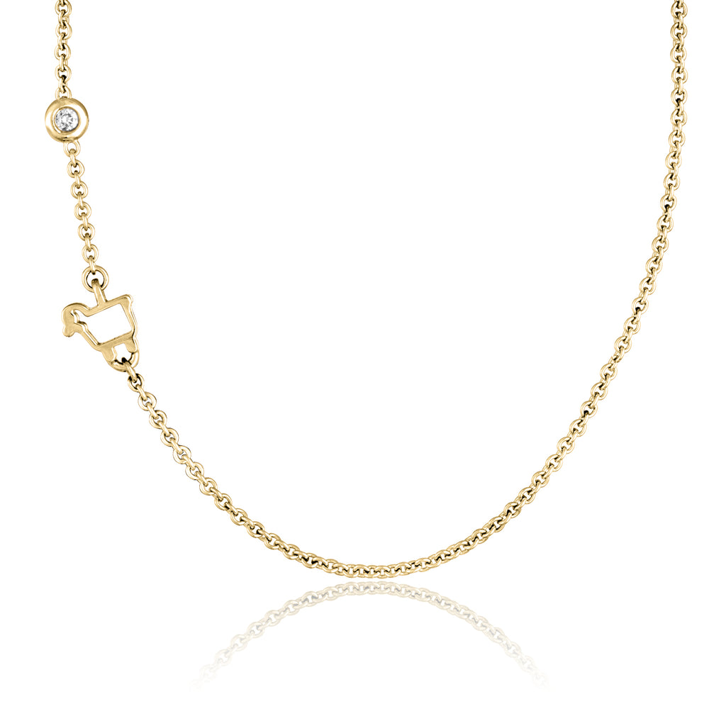 18K Yellow Gold Mini Logo Necklace with Floating Diamond