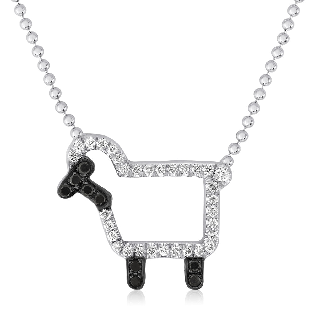 "Sterling Silver ""Susie"" Lamb Necklace in White Diamonds"