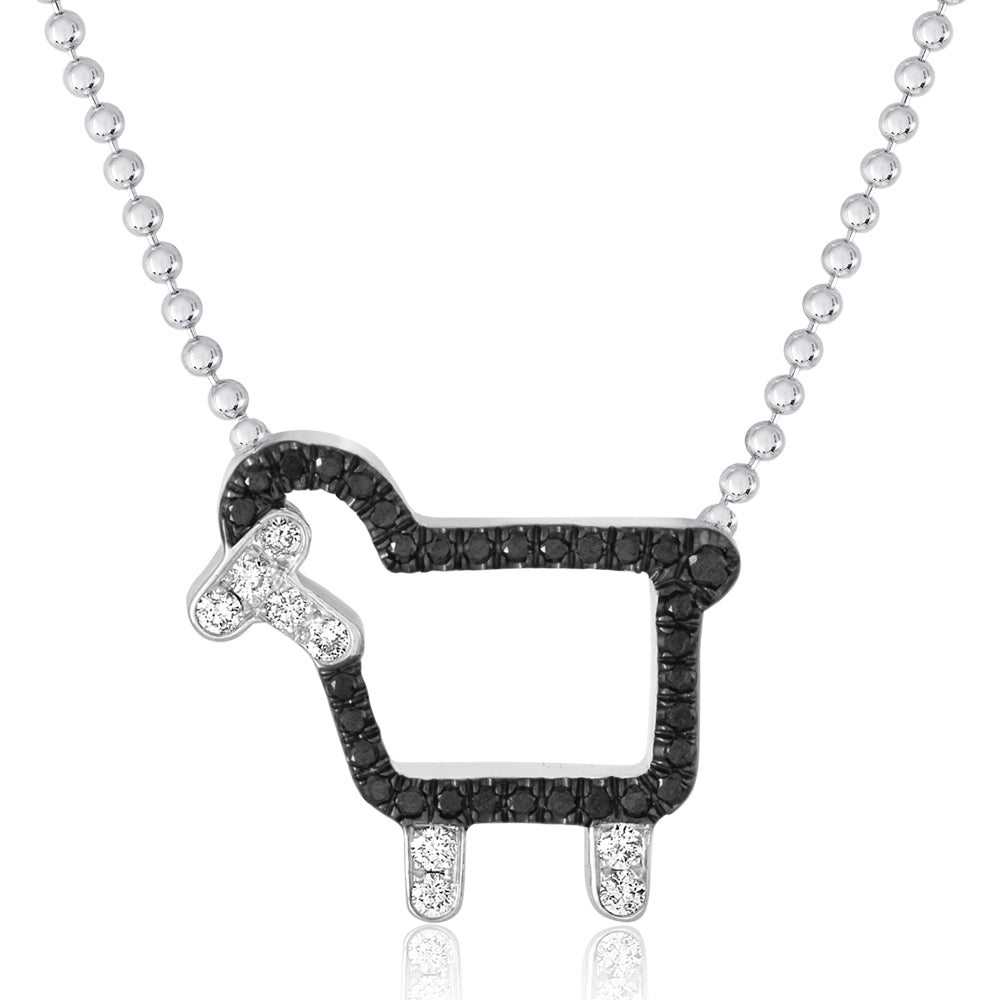 "Sterling Silver ""Johnny- The Black Sheep"" Necklace in Black Diamonds"