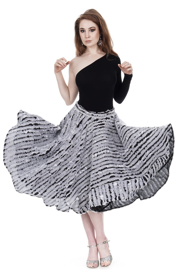 cloud silk ruffle skirt - Poema Tango Clothes: handmade luxury clothing for Argentine tango