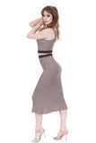 heathered lilac sweater rib skirt - Poema Tango Clothes: handmade luxury clothing for Argentine tango