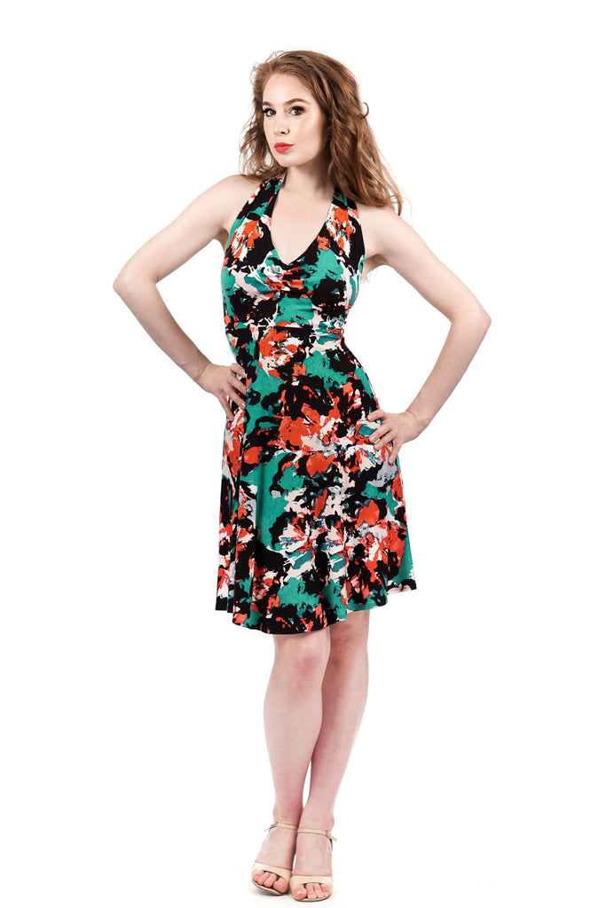 inksplash floral flared dress - Poema Tango Clothes: handmade luxury clothing for Argentine tango