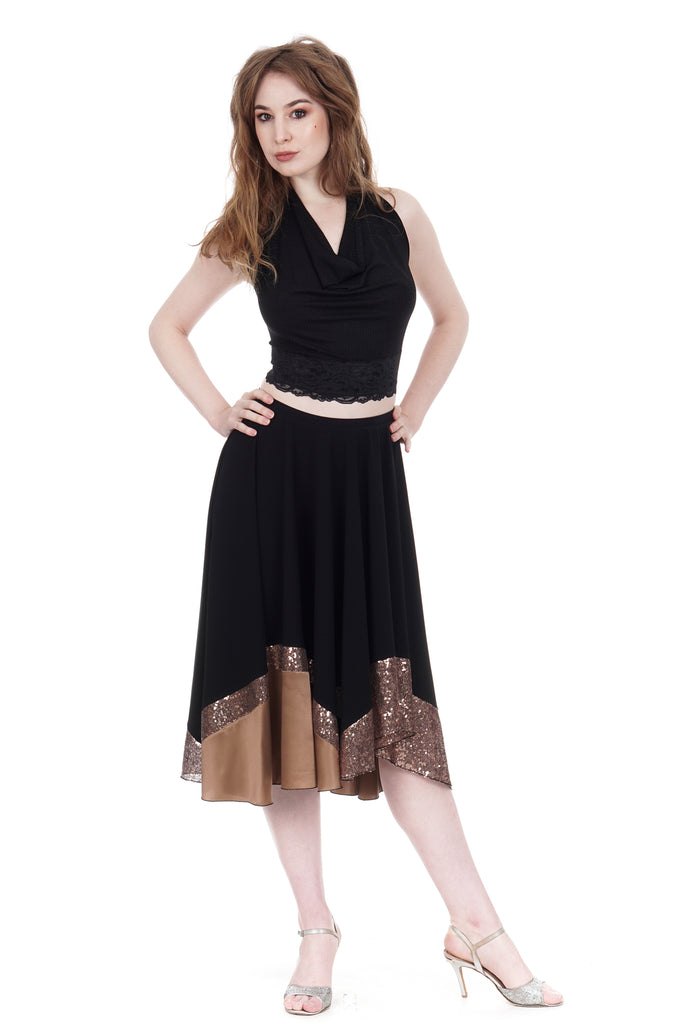 inky and burnished bronze skirt - Poema Tango Clothes: handmade luxury clothing for Argentine tango