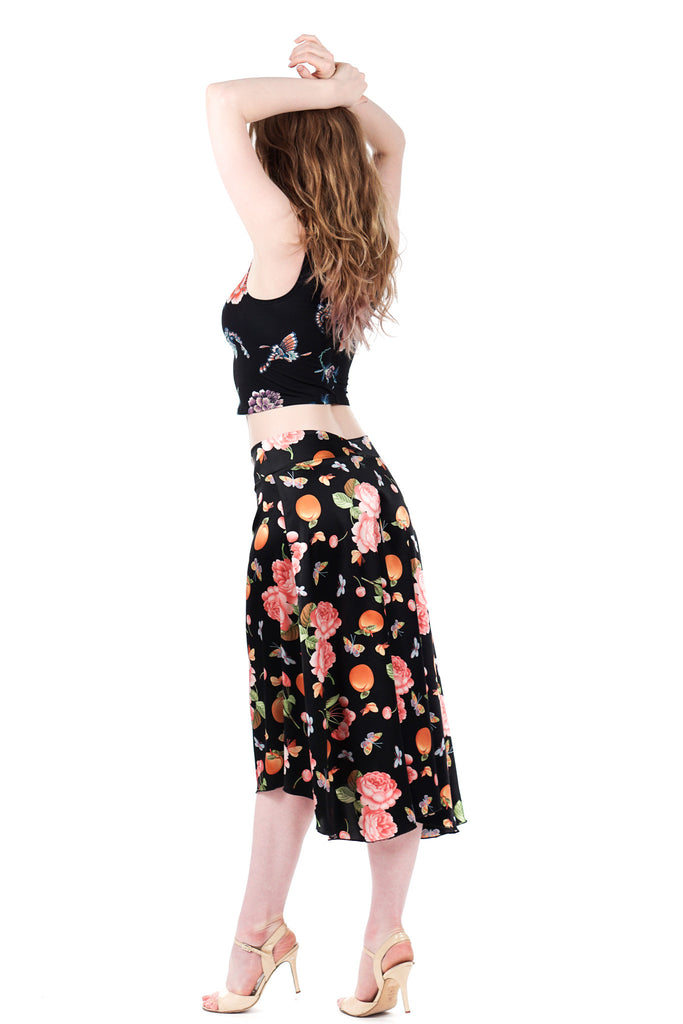 peach tree silk flared skirt - Poema Tango Clothes: handmade luxury clothing for Argentine tango