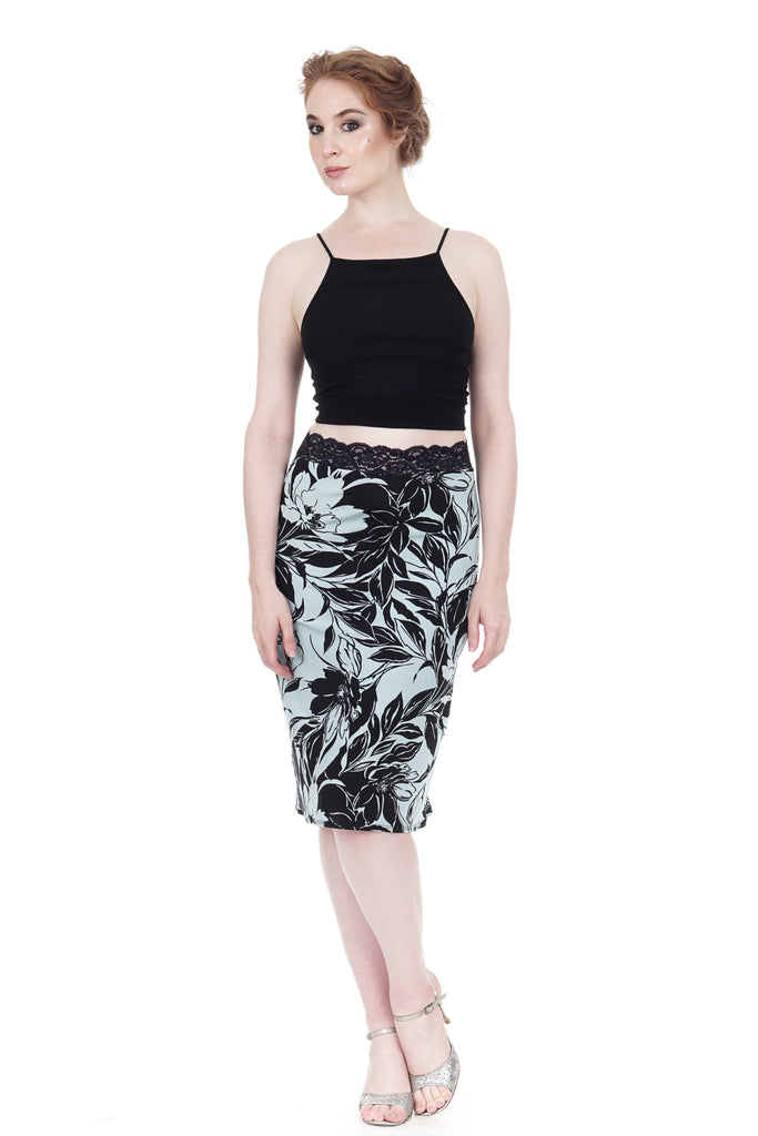 sky gardenia pencil skirt - Poema Tango Clothes: handmade luxury clothing for Argentine tango