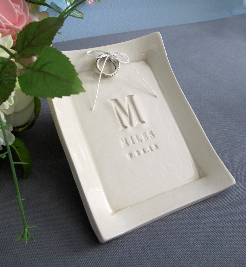 Personalized Ring Bearer Platter - Unique Ring Pillow Alternative