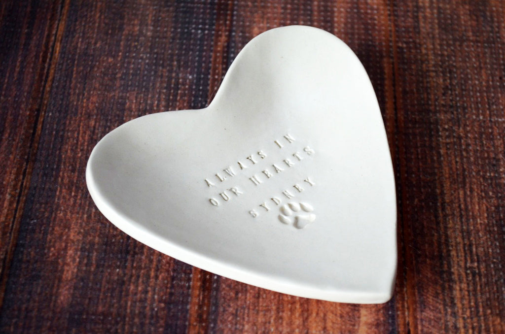 Dog Sympathy Gift, Pet Sympathy Gift, Pet Memorial Gift, Loss of Pet Gift - Always in our Hearts - With Pet's Name - Heart Shaped Bowl