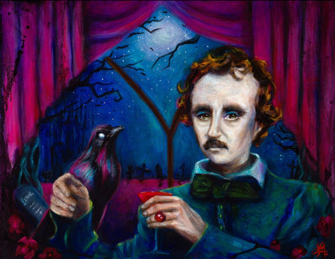 A Midnight Dreary - Edgar Allan Poe Portrait (Print)